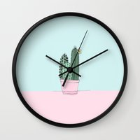 cactus Wall Clocks featuring Cactus by Blue Jean Genie