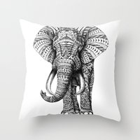 orange pattern Throw Pillows featuring Ornate Elephant by BIOWORKZ