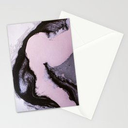 Pink and black marbling paper Stationery Cards