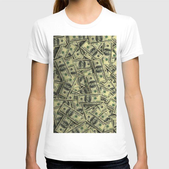 100 dollar cash get rich T-shirt