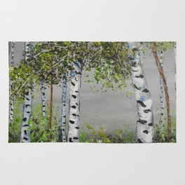 Aspen Trees, Shades of Gray Rug