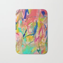 Wild Child: a colorful, vibrant abstract piece in neon and bold colors Bath Mat