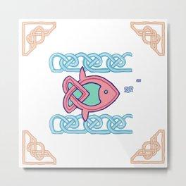 ocean sunfish knotwork Metal Print