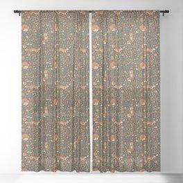 Fox in an Autumn Garden Sheer Curtain