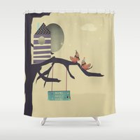 home sweet home Shower Curtains featuring home sweet home by bri.buckley