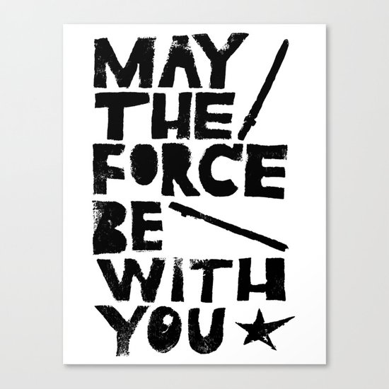 May the Force be with You - Linocut Star Wars Movie Poster Canvas Print