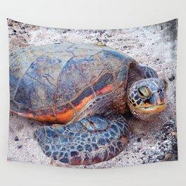 Hawaii sea turtle on sandy beach close-up photo Wall Tapestry