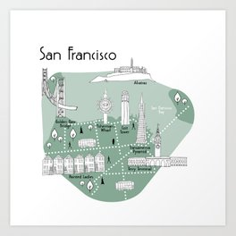 San Francisco Map - Green Art Print
