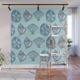 Watercolor Seashells Aqua Background  Wall Mural