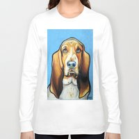 the hound Long Sleeve T-shirts featuring Hound Dog by Animal Art By Sarah