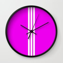 3 White Stripes on Pink Wall Clock