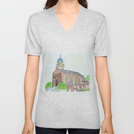 University of Dayton watercolor, UD Chapel, Dayton, OH Unisex V-Neck