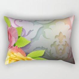 Flowers & Colorful Pastel Damask Rectangular Pillow