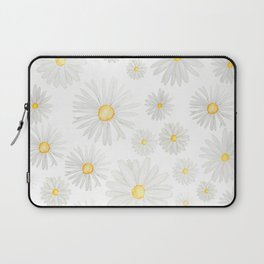 white daisy pattern watercolor Laptop Sleeve
