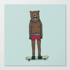 Bear + Skateboard Canvas Print