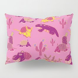 Desert Animals in Pink with Yellow Armadillo Pillow Sham