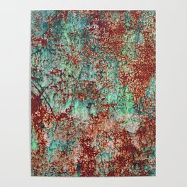 Abstract Rust on Turquoise Painting Poster