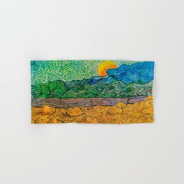 Evening Landscape with Rising Moon by Vincent Van Gogh Hand & Bath Towel