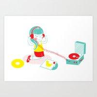 vinyl Art Prints featuring Vinyl by Samantha Eynon