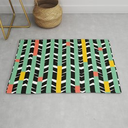TRIBAL CHEVRON | black aqua Rug