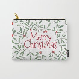 Watercolor Mistletoe Carry-All Pouch