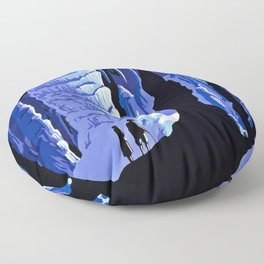 See America blue grotto vintage travel Floor Pillow