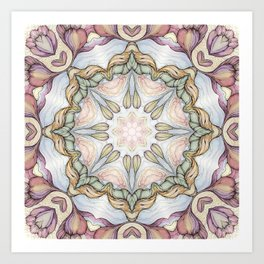 purple flowers hand drawn and  kaleidoscope mandala Art Print