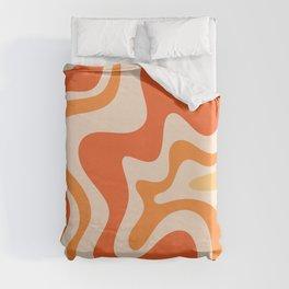 Tangerine Liquid Swirl Retro Abstract Pattern Duvet Cover