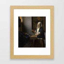 Woman Holding a Balance Johannes Vermeer Framed Art Print