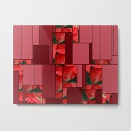 Mottled Red Poinsettia 1 Ephemeral Art Rectangles 8 Metal Print