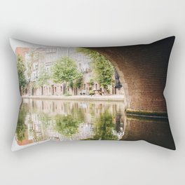 Photo of the Oudegracht with the reflection of Typical Dutch Canal Houses in Utrecht, Holland/The Netherlands | Fine Art Colorful Travel Photography |  Rectangular Pillow