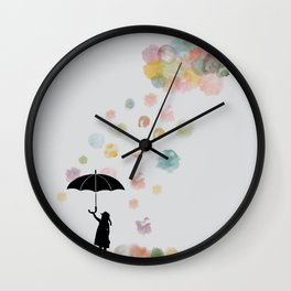 Colorful snow in Winter Wall Clock