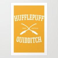 quidditch Art Prints featuring Hogwarts Quidditch Team: Hufflepuff by IA Apparel