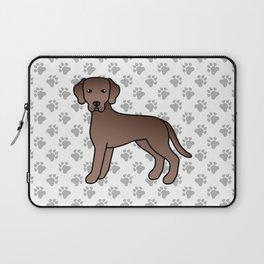 Chocolate Labrador Retriever Dog Cute Cartoon Illustration Laptop Sleeve