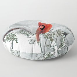 Cardinal on Snowy Branch (sq) Floor Pillow