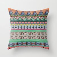 ethnic Throw Pillows featuring  Ethnic  by moniquilla