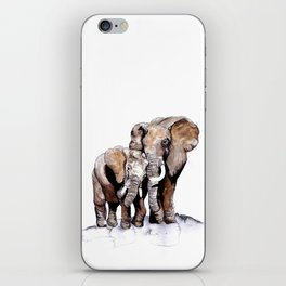 Elephant with her young calf  iPhone Skin