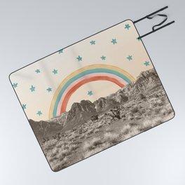 Canyon Desert Rainbow // Sierra Nevada Cactus Mountain Range Whimsical Painted Happy Stars Picnic Blanket