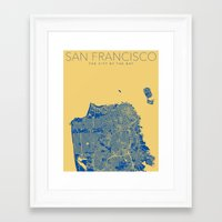 san francisco map Framed Art Prints featuring SAN FRANCISCO City Map by Samantha Jeet
