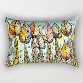 Autumn grove. Hand drawn watercolor and ink drawing Rectangular Pillow
