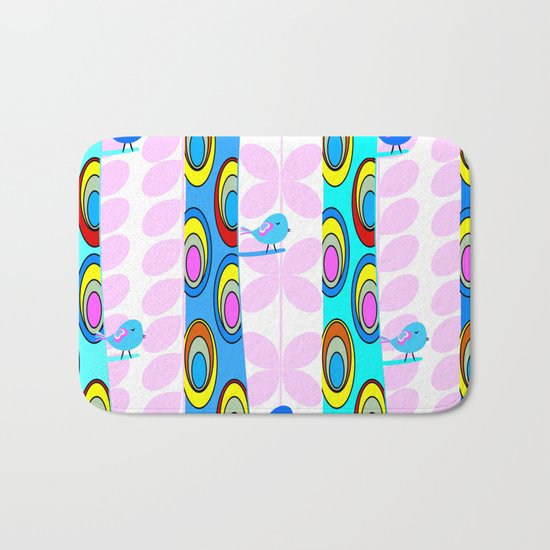 Birds and colorful trees Bath Mat