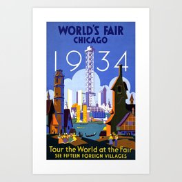 World's Fair Chicago 1934, Tour the World at the Fair - Vintage Advertising Poster Art Print