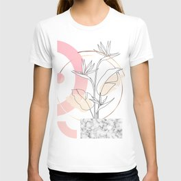 Tropical minimal / marble and bird of paradise plant T-shirt