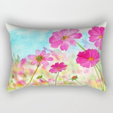 Symphony In Pink, Watercolor Wildflowers Rectangular Pillow