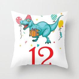 12th Birthday For Boys Dinosaur Birthday Throw Pillow