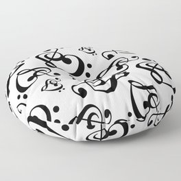 Black And White Clef Hearts Floor Pillow