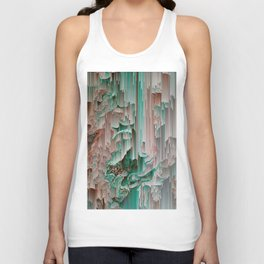 Teal Abstract Digital Waterfall Unisex Tank Top