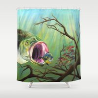 clueless Shower Curtains featuring Large Mouth Bass and Clueless Blue Gill Fish by Sonya ann