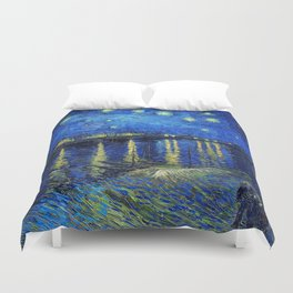 Starry Night Over the Rhone by Vincent van Gogh Duvet Cover