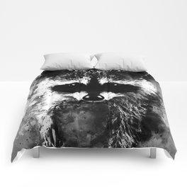 raccoon watercolor splatters black white Comforters